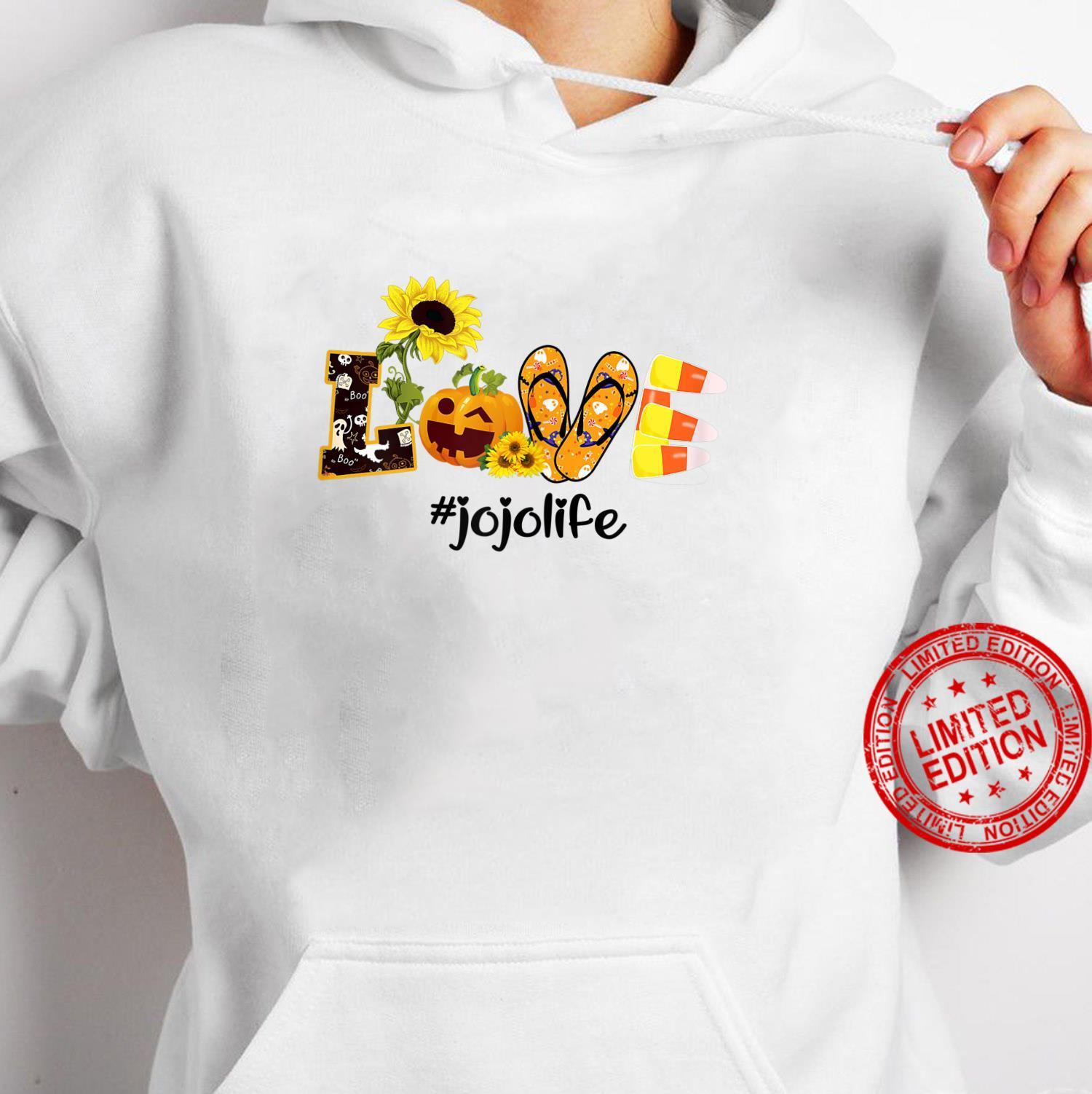 Womens Love jojo Life Sunflower Halloween shirt hoodie
