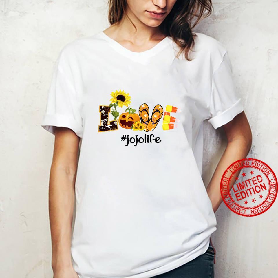 Womens Love jojo Life Sunflower Halloween shirt ladies tee
